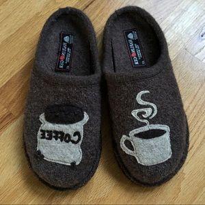 Haflinger Brown Wool Coffee Slippers